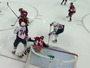 Puck Ricochets In Off Capitals Perreault's Face