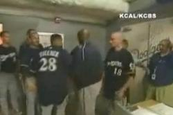 Prince Fielder Storms the Dodgers Locker Room